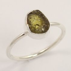 Natural GREEN TOURMALINE Gemstone 925 Sterling Silver Ring Size US 6 Wholesale #Unbranded
