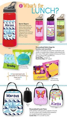 Do you pack a lunch for the kids? Our personalized school lunchboxes, sandwich and snack bags and water bottles are all one-of-a-kind designs.