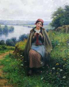 The Athenaeum - Girl Knitting Daniel Ridgway Knight - 1921 Private collection Painting - oil on canvas Height: 80.65 cm (31.75 in.), Width: 64.77 cm (25.5 in.)