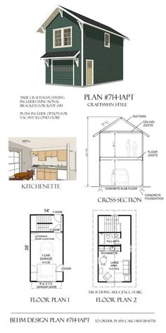 2 Story 2 Car Apartment Garage Plan - x by Behm Design. Best to use in 2 Car, Wide, Apartment, Two Story Garage Plans Carriage House Plans, Small House Plans, House Floor Plans, The Plan, How To Plan, Garage Plans With Loft, Plan Garage, Garage Apartment Plans, Garage Apartments