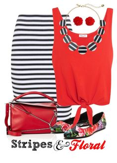 """""""Summer Stripes & Floral"""" by curvygirlamy ❤ liked on Polyvore featuring A.L.C., Loewe, Splendid and Kate Spade"""