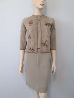 8fc4b00c25c Banff Wool Womens Suit Vintage 1950s Heavily Beaded Cardigan Wiggle Skirt Pullover  Sweater