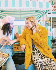 mustard teddy fur coat from ban.do