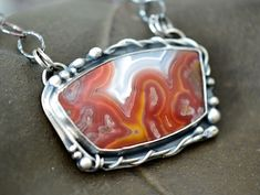 Red Lace Agate Silver Vine Pendant | by Simply_Adorning