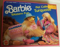 1989 Mattel Barbie Western Fun Pet Collie Turquoise in original box opened for picture Sold as is For ages over 3 - contains small parts Barbie Horse, Barbie Box, Vintage Barbie Dolls, Barbie And Ken, Vintage Toys, Barbie Stuff, Beautiful Barbie Dolls, Barbie Dream, Barbie Furniture