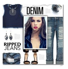 """""""Denim on Denim"""" by jgee67 ❤ liked on Polyvore featuring Gianvito Rossi, MANGO, Alexander McQueen, Lanvin, Silver Forest and Denimondenim"""