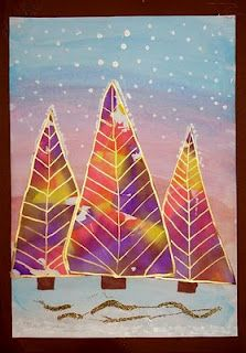 Kleurrijke kerstbomen--this could be a cute winter landscape theme for watercolors for the kids with wax resist and washes!! :)