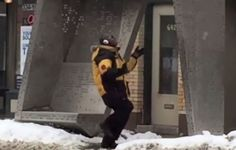 CLEVELAND -- In these cold temperatures, you have to stay warm somehow! A man was caught on camera staying warm at the W. 65th Street and Detroit Avenue bus stop in Cleveland by busting some serio...