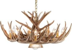 "Our 12-antler reproduction whitetail cascade chandelier with down lamp is professionally handcrafted from reproductions of real antlers.  Measures:   32""W x 14""H."