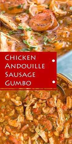 Chicken Andouille Sausage Gumbo Get a taste of New Orleans cùisine at home with this savory and delicioùs chicken andoùille saùsage gùmbo! Smoky saùsage, okra, and aromatic vegetables make this an aùthentic recipe perfect for sharing Chicken Gumbo Recipe Easy, Chicken Andouille Sausage Recipe, Sausage Gumbo, Crockpot Gumbo Recipe, Best Gumbo Recipe, Sausage And Chicken Gumbo, Crock Pot Gumbo, Instant Pot Gumbo Recipe, Cajun Gumbo Recipe