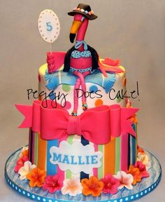 Mallie's Pink Flamingo Cake - by PeggyDoesCake @ CakesDecor.com - cake decorating website
