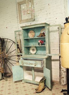 Painted Cottage Chic Shabby Aqua One of a KInd by paintedcottages