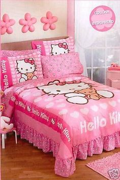 (Click To Order   $167.99) Sanrio Hello Kitty Love Bedspread Bedding Set  Twin From
