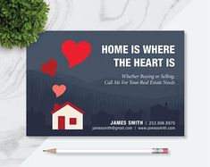 Simple, Clean, and Modern Digital Templates and Prints by LanaMadeDesigns Real Estate Postcards, Postcard Template, Marketing Ideas, Where The Heart Is, Real Estate Marketing, Pdf, Valentines, Houses, Templates