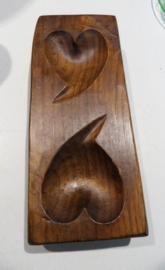 Primitive Home Made Wooden Maple Sugar Two Heart Mold      ...~♥~