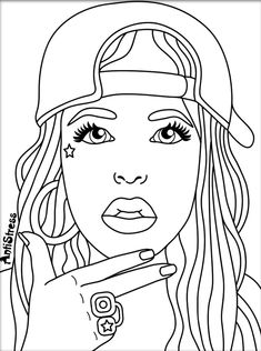 Adorable coloring pages of little girls of color Black is