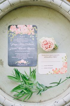 Floral wedding invitation | Photography: One Love Photo - onelovephoto.com  Read More: http://www.stylemepretty.com/california-weddings/2014/04/28/romantic-al-fresco-temecula-wedding/