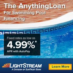 At the above ground pool builder you can find financing for your above ground pool. Loans starting at 5k with great terms. Learn more: http://www.abovegroundpoolbuilder.com/ground-pool-builder-financing/