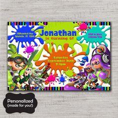 Splatoon Birthday invite,Splatoon,Splatoon invite,JPG file,Invite,Paintball party,Gamer,Gamer party,Paintball,DPP211