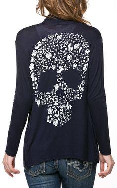 Navy Flower Skull Open Cardigan