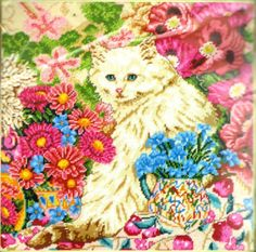 "VINTAGE ELSA WILLIAMS FLORAL PERSIAN CAT ""PANDORA"" NEEDLEPOINT KIT ~ SEALED #ElsaWilliams"