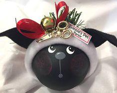 Hund personalisierte Groomer Weihnachtsschmuck schwarzer Hund Schere Jingle Bell Hand Handmalerei Themen von Townsend individuelle Geschenke