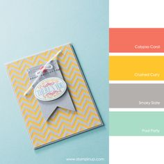 Calypso Coral, Crushed Curry, Smoky Slate, Pool Party #stampinupcolorcombos