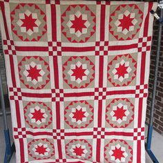 """AX-Antique 1880's CARPENTER'S WHEEL quilt-turkey red,taupe,green- 56x76"""" in Antiques, Linens & Textiles (Pre-1930), Quilts 