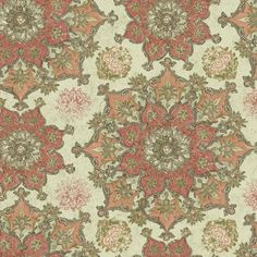 """York Wallcoverings Global Chic Incense Wheel 27' x 27"""" Floral and Botanical 3D Embossed Wallpaper Color: Cream, Coral, Peach, Taupe, Beige"""
