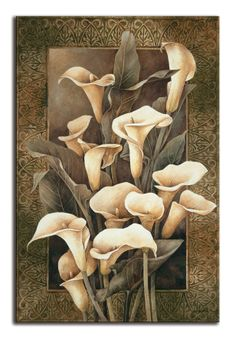 Giclee Print: Golden Calla Lilies by Linda Thompson : 4 Calla Lillies, Calla Lily, Linda Thompson, Decoupage, Arte Floral, Painting Edges, Stretched Canvas Prints, Watercolor Paper, Flower Art