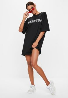 0bfcd36186 Missguided - Black Oversized Tshirt Dress Tshirt Dress Outfit