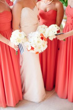 Coral Bari Jay bridesmaid dresses for a Cabo beach wedding