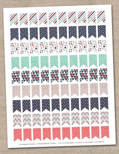 Triangle Collection Patterned Flags Planner Stickers Instant Download DIY Printable PDF