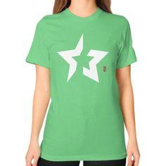 Back to basics Star (White) Unisex T-Shirt (on woman)