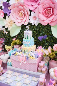 garden Party Anniversaire - Minnie Mouse Winter Wonderland Party & More! 2 Birthday, Girl Birthday Themes, Garden Birthday, Fairy Birthday, 1st Birthday Parties, Birthday Decorations, Birthday Ideas, Flower Decorations, Butterfly Garden Party
