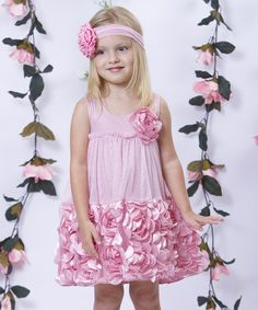 Look at this #zulilyfind! Dusty Rose Rosette Dress - Toddler & Girls by Mia Belle Baby #zulilyfinds