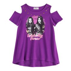 "Disney D-Signed Descendants Girls Cold-Shoulder """"Wickedly Fierce"""" Graphic Tee, Girl's, Size: XL, Purple Disney Descendants Dolls, How To Show Love, Cold Shoulder, Graphic Tees, Girl Outfits, Sperrys Men, Eagle Men, Running Clothing, Men Shorts"