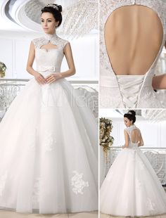 Vestido de novia de encaje blanco con escote alto - Milanoo.com