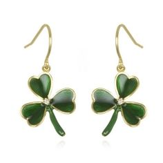 Green and Crystal Earrings - Shamrock Earrings: Gifts for St. Patrick's Day 2013