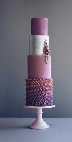 79 wedding cakes that are really pretty! Purple Wedding Cakes, Unique Wedding Cakes, Wedding Cake Designs, Wedding Desserts, Purple Cakes, Crazy Cakes, Hexagon Wedding Cake, Cake Shop Design, Painted Wedding Cake