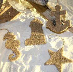 glue sand to cardboard for beachy ornaments