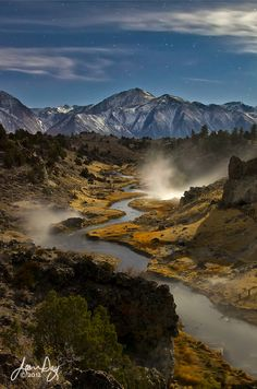 One of my favorite places as a kid. Hot Creek by Moonlight - Mammoth Lakes, Eastern Sierra Nevada, California, USA (by Jean Day on All Nature, Amazing Nature, Science Nature, Beautiful World, Beautiful Places, Landscape Photography, Nature Photography, Mammoth Lakes, Seen