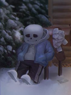 Sans next to his exploded mailbox