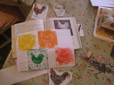 Kathy Hutton Prints workshop @theFarm - chickens!