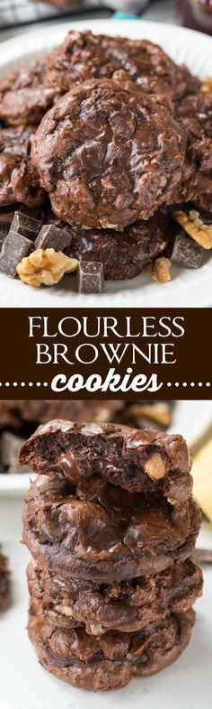 Flourless Brownie Cookies - this cookie recipe is for the chocoholics! This flourless cookie is rich and fudgy, tastes like a brownie, and is gluten-free!