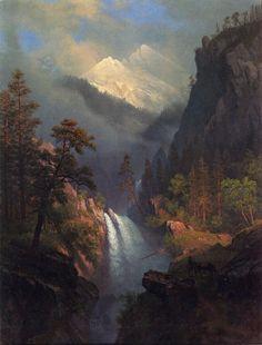The Athenaeum - Cascading Falls at Sunset (Albert Bierstadt - ) Landscape Art, Landscape Paintings, Albert Bierstadt Paintings, Cascade Falls, Munier, Hudson River School, Illustrations, Cool Landscapes, Western Art