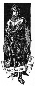Sir Lancelot, standing in armour with a cape and with visor up, leaning on his sword