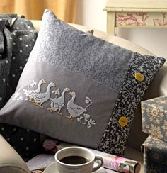 Gagge of Geese - Project Available in Cross Stitch Collection 254 (October Cross Stitch Borders, Cross Stitch Animals, Cross Stitch Designs, Cross Stitching, Cross Stitch Embroidery, Cross Stitch Patterns, Vintage Pillow Cases, Vintage Pillows, Crochet Pillow Cases