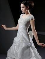 Charming A-line Scoop Chapel Train Taffeta Wedding Dress Wal07106-lt