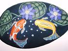 """KOI FISH """"POND"""" WITH LAVENDER WATER LILIES ! PAINTED ROCK - ORIGINAL- V. ALLEN"""